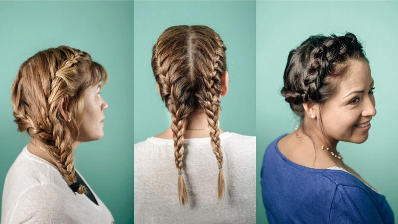 Haare, Zopf, Frisuren: Drei Frauen mit Zopffrisuren, seitlich und von hinten fotografiert.