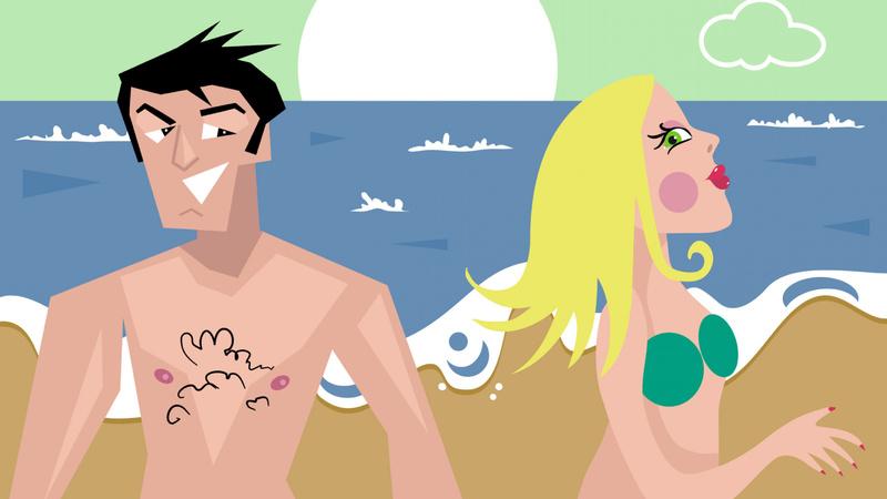 Schönheit, Pflege, Kosmetik: Zeichnung eines Mannes und einer Frau am Strand