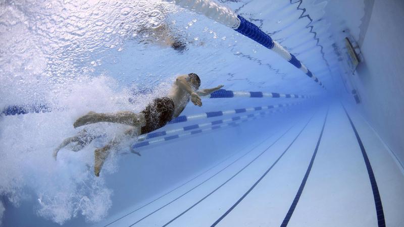 Schwimmen, Sport, Gesundheit: Ein Schwimmer unter Wasser im Hallenbad.