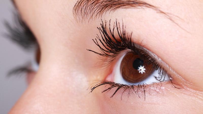 Schönheit, Pflege, Schminken, Wimpern: linkes Auge einer Frau mit voluminös geschminkten Wimpern
