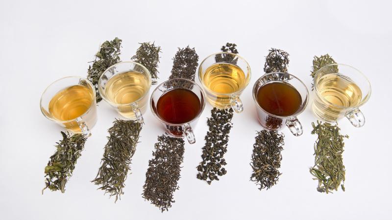 Ernährung, Tee, Zubereitung: verschiedene Teesorten ausgestreut. Auf jeder Sorte steht eine durchsichtige Tasse mit dem entsprechenden Tee gefüllt