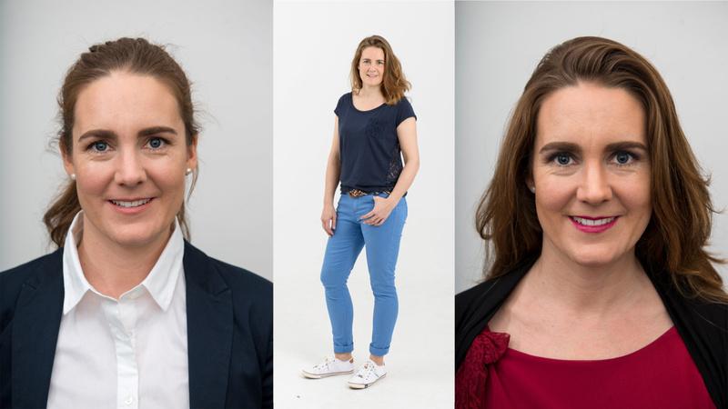 Schminken, Make-up, Schönheit: Gesicht einer jungen Frau, deren Augenbrauen gerade mit einem Pinsel von einer anderen Frau geschminkt werden.